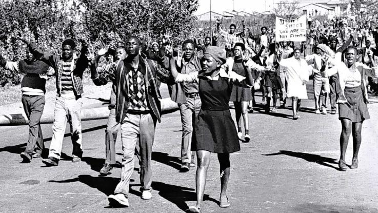 Protesters at Sharpville, during the Apartheid years in South Africa