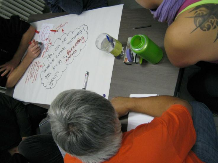 A group gathered around a piece of paper, making notes in a brainstorm