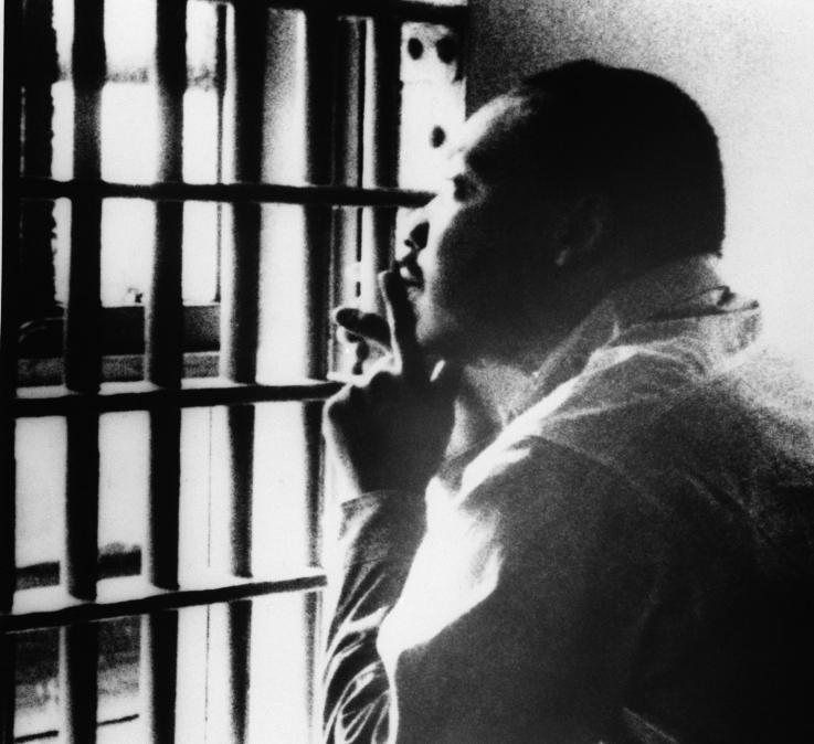 A picture of Martin Luther King in prison