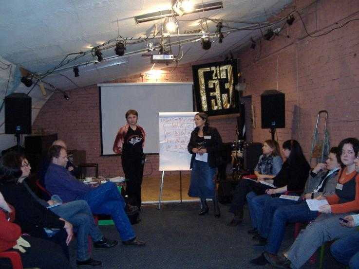 A nonviolence training session in Russia