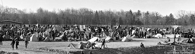 A picture of people camping, during the occupation of the Seabrook nuclear power station