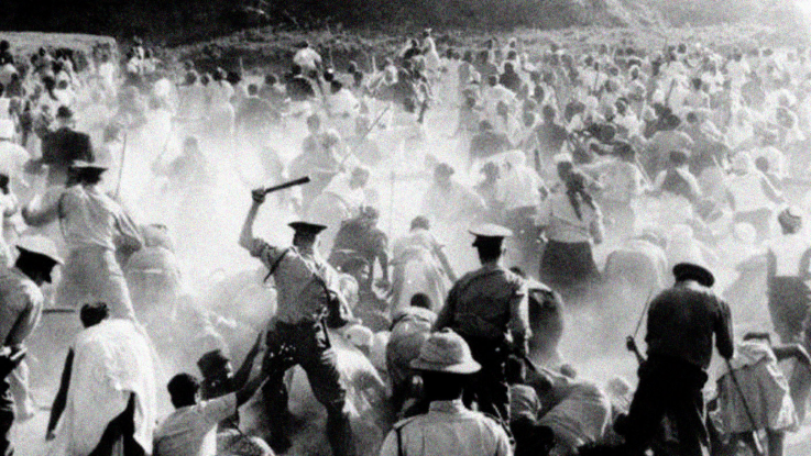 Police respond violently to a protest at Sharpeville, South Africa, during the apartheid regime