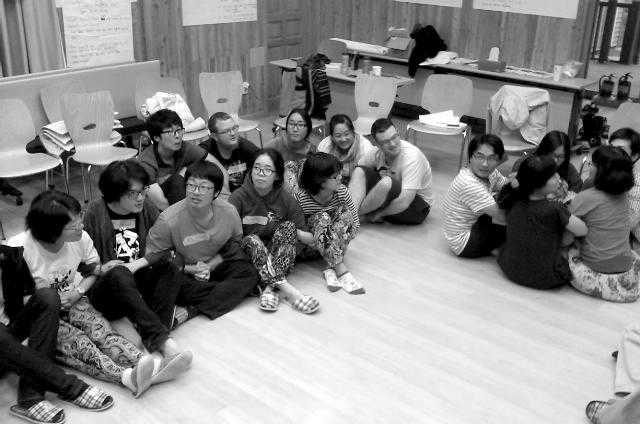 Activists in Korea take part in nonviolent direct action training