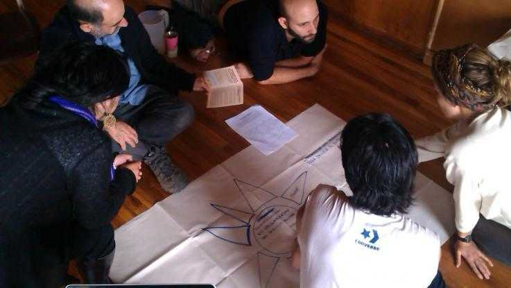 A group meet during a nonviolence training in Ecuador